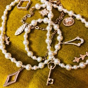 Pearls with gold charms